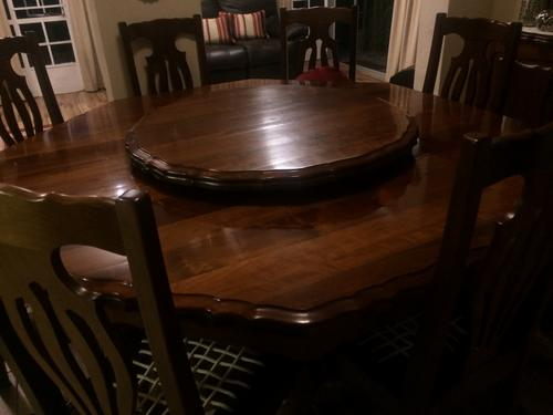 Beautiul Imbuia Wood 8 Seater Dining Table Lazy Susan And Sideboard