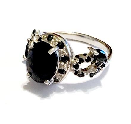 rings cr blue sapphire set in genuine 925 sterling