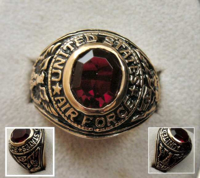 Us Army Class Rings: 14KGP 7CT Ruby Sim US AIR FORCE MILITARY CLASS