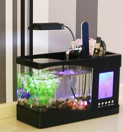 Led Usb Desktop Fish Tank Aquarium With Clock Date Thermometer And Pen Holder