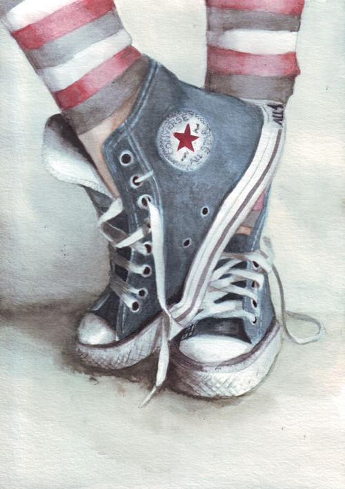 f4a5c812d4024 Original watercolor painting of Blue Converse All Stars art | bidorbuy.co.za