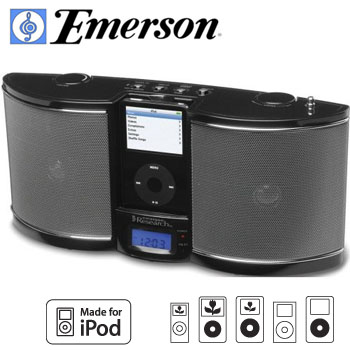 Radio Emerson iTone iP100 Speaker Works with ALL Phones w// Aux Alarm Clock