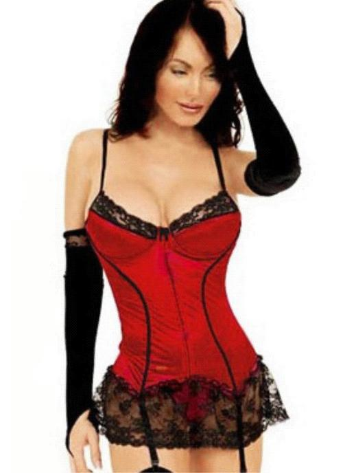 9a9e40788d7 Sexy red satin underwire boned corset with black lace trim and black  embroidery detail. This corset laces up at the back. This set comes  complete with ...