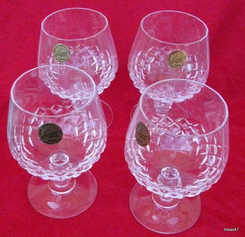 Cristal Darques France.Drinking Glasses Stemware 4 Brandy Glasses Longchamp Cristal
