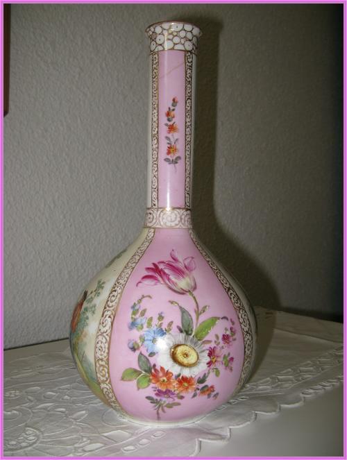 German Porcelain Antique Rare Dresden Quatrefoil Vase Circa 1883
