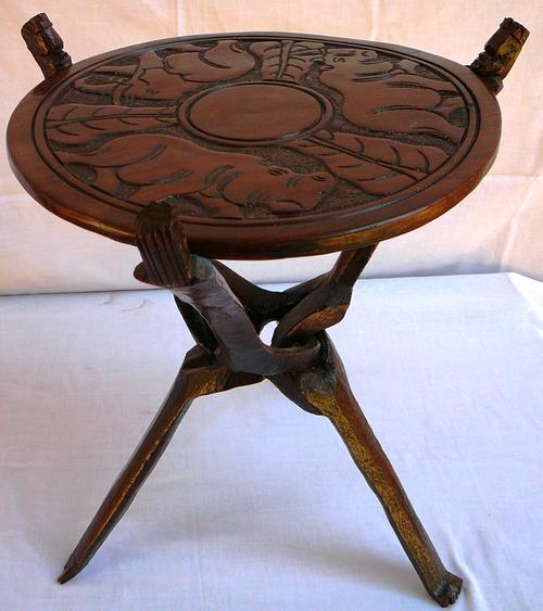Tables Carved African Three Legged Side Table Was Sold