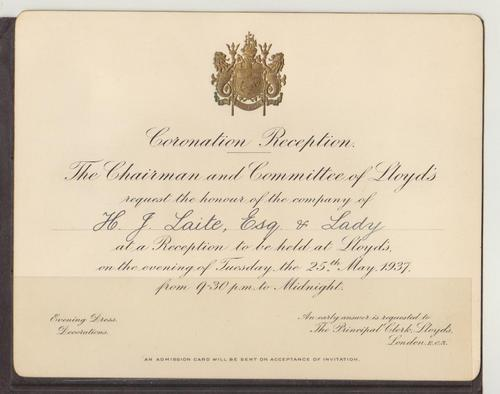 Documents official invitation to coronation reception 25 may 1937 official invitation to coronation reception 25 may 1937 accessoriesmittance card map etc stopboris Gallery