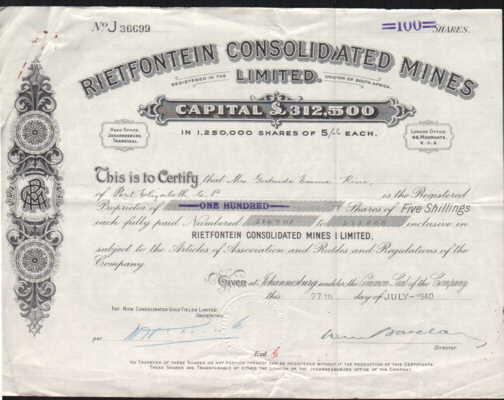 Documents share certificate rietfontein consolidated mines ltd share certificate rietfontein consolidated mines ltd as description yadclub Gallery