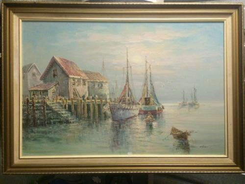 Oils Stunning Oil On Canvas Painting By Luini Fishing