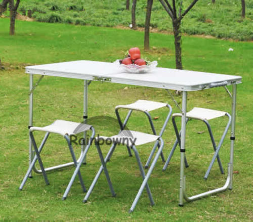 portable aluminum picnic table with 4 stools folding table set