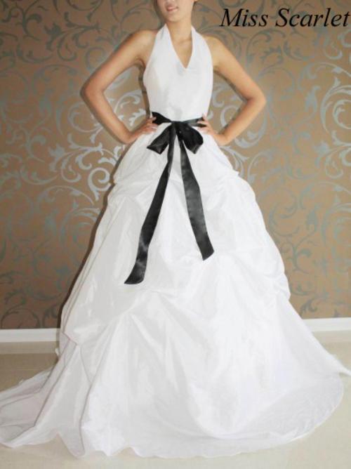 Wedding dresses striking white halterneck wedding gown for White wedding dress with black sash