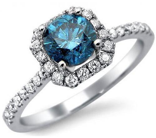 Gold CERTIFIED 10K SOLID WHITE GOLD BLUE AND WHITE DIAMOND ENGAGEMENT RING