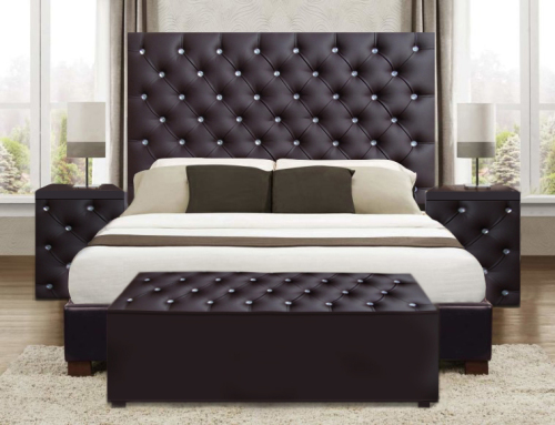 4 Pce Upholstered Dina Bedroom Suite Comp Headboard Pedestals Linen Box