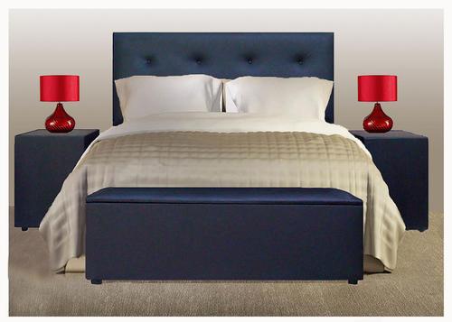 4 Pce Upholstered Bedroom Suite Comp Headboard Pedestals Linen Box