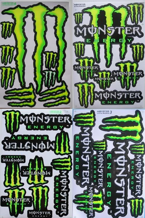 quad bikes 4 x a4 monster energy racing decal sticker. Black Bedroom Furniture Sets. Home Design Ideas