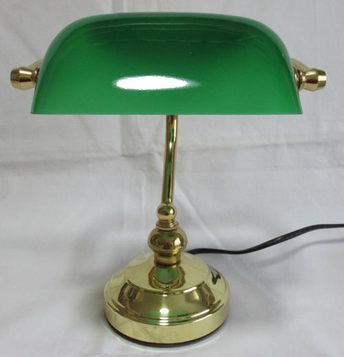 BRASS BANKERS LAMP WITH GREEN GLASS SHADE