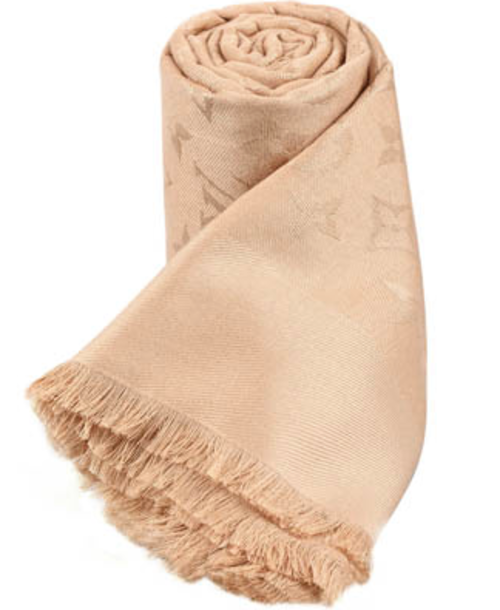 1a59927cb4db ... mixture of silk and wool this shawl printed tone on tone with the  monogram pattern. Sign LOUIS VUITTON PARIS
