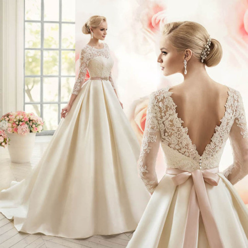 Pink Wedding Dresses With Sleeves: Wedding Dresses Lace Bridal Gowns