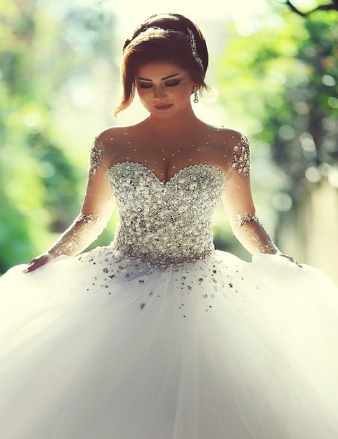 Wedding Dresses - Luxury Shiny Crystal Beading Ball Gown Train Full ...