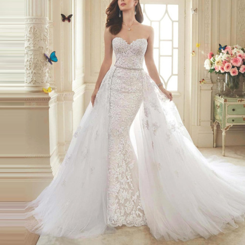 Bridal Gowns Vanderbijlpark : Wedding dress in lace mermaid detachable train