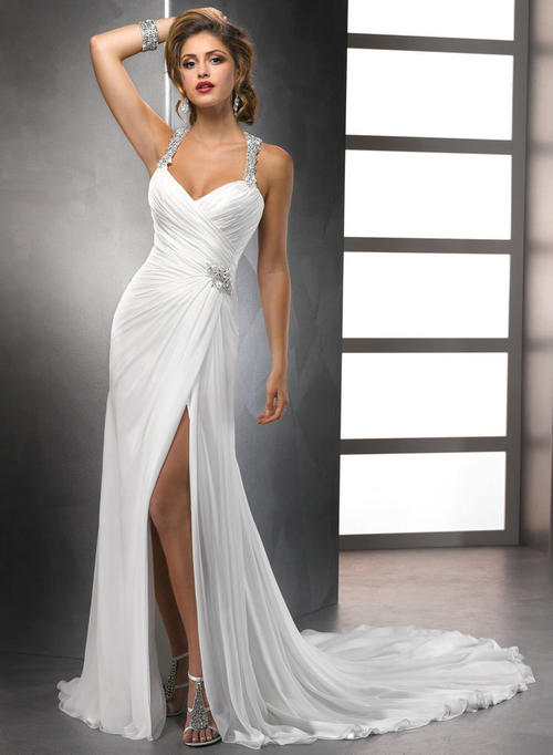 Wedding Dresses - Free Shipping - White Chiffon Front Slit ...Halter Top Backless Wedding Dresses