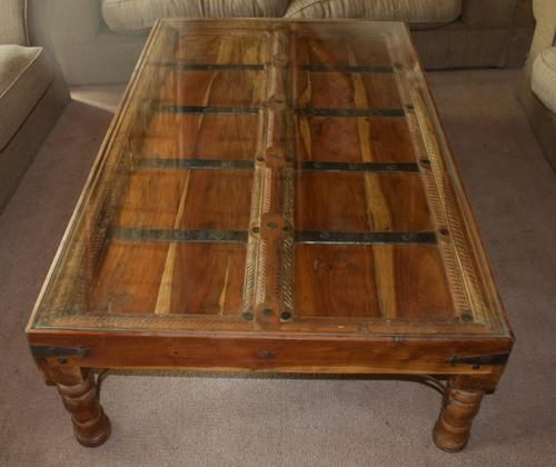 """Imported Indonesian """"Door"""" Coffee Table Was"""
