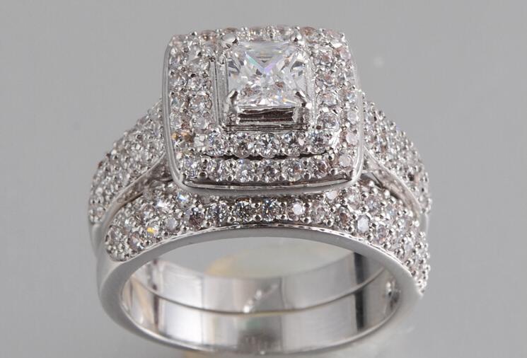 14k White Gold Filled Simulated Diamond Wedding Ring Set