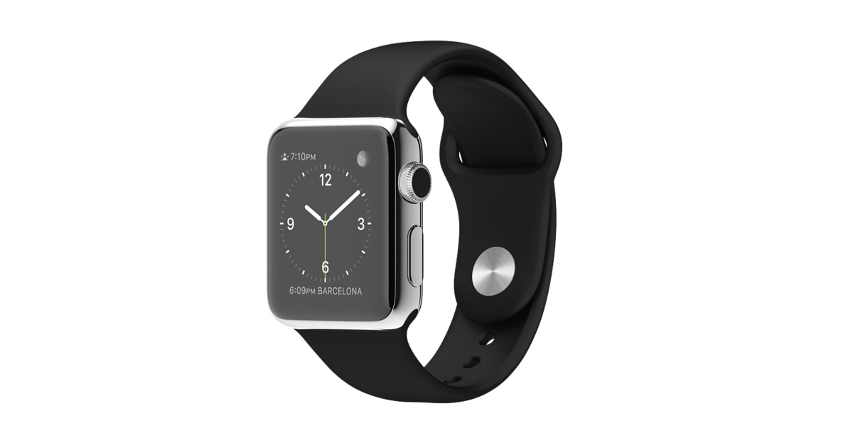 huge discount 2de69 f19b3 Apple Watch 38mm Stainless Steel Case With Black Sport Band