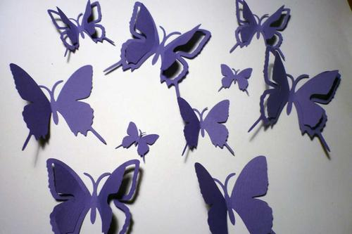 Wall Decals 20 Violet Purple Print 3d Card Paper Butterflies Wall