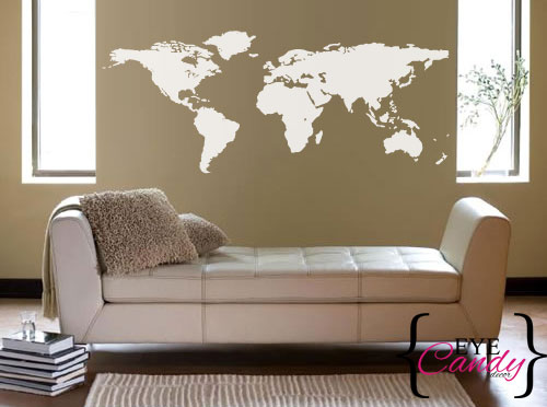 MATTE WHITE World Map Vinyl Wall Art Sticker Decal Vinyl Interior Decor  Decoration Part 86