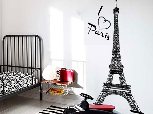 Paris Decals Wall Art wall decals - i love paris eiffel tower .wall art vinyl sticker