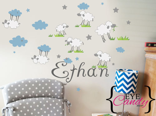 Cute blue sheep with name boys baby kids wall stickers decal to decorate childrens room