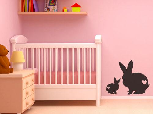 Wall Decals - Cute baby bunny rabbits with hearts Vinyl Wall Art ...