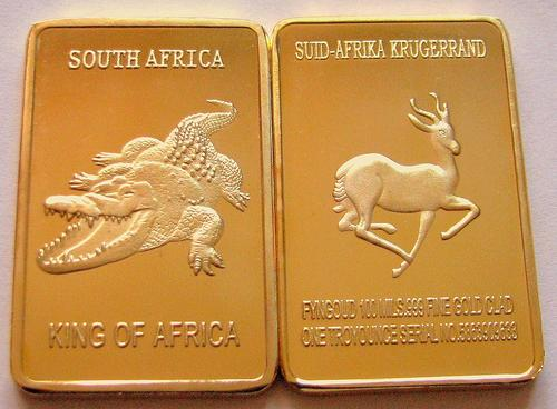 King Of Africa Clad Gold Bar Exonumia