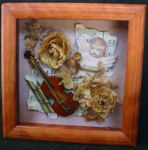 Gorgeous Box Framed Dried Flowers With A Musical Theme
