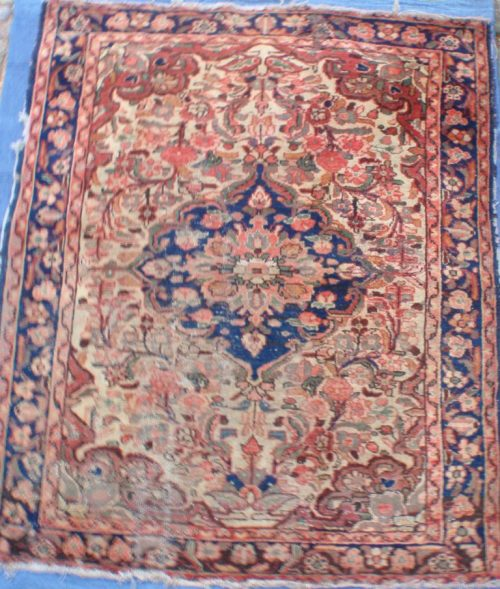 Old Persian Carpet Well Worn Threadbare In Some Areas Instant Character
