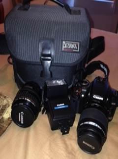 Canon 400D + 28-105mm Canon lens, 80-200 Canon lens, Kalimar external flash  and camera bag