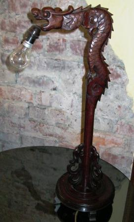 CHINESE CARVED WOODEN DRAGON LAMP.(1920S OR OLDER)