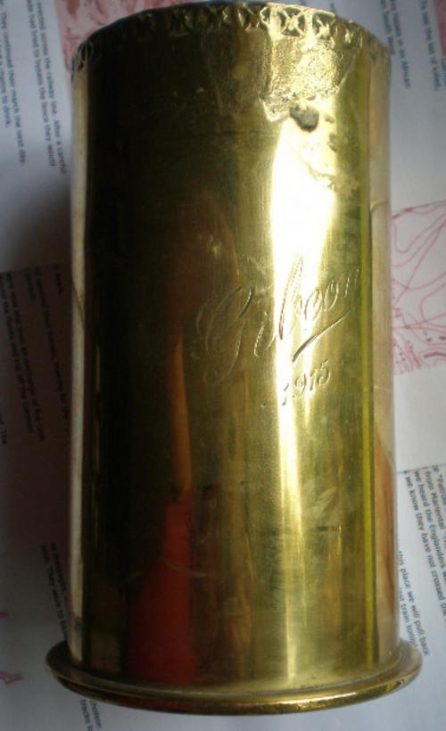 WW1 GERMAN SOUTH WEST TRENCH ART-A SHELL ENGRAVED GIBEON & DATED 1915-THE  SHELL DATE UNDERNEATH IS 1