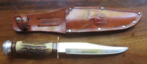 ORIGINAL C  JUL HERBERTZ SOLINGEN ROSTFREI KNIFE WITH LEATHER SHEATH-TOTAL  LENGTH 266MM-DEERE HANDL