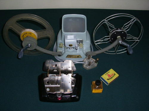 A VERNON 8MM MOVIE EDITOR MODEL 101 WITH DRY SPLICER AND KODAK FILM  CEMENT(1/2 FLUID OUNCE)VINTAGE