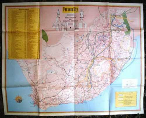Africana LARGE WALL MAP THE STORY OF SOUTH AFRICA