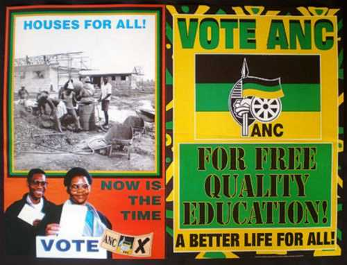 africana two a n c election posters free housing and free quality