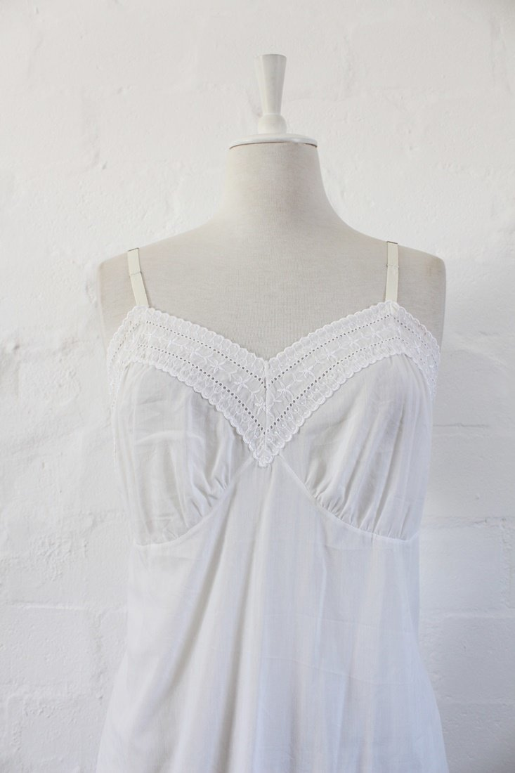 Dresses  VINTAGE EMBROIDERED WHITE COTTON SLIP CHEMISE