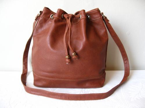 Handbags & Bags - VINTAGE BROWN FAUX LEATHER DRAWSTRING BUCKET ...