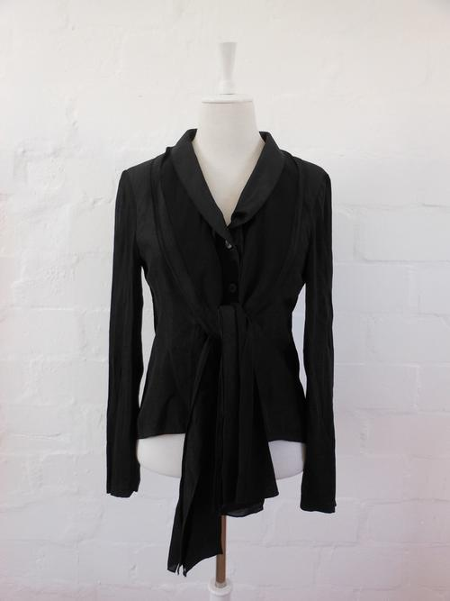 GABI LAUTON DESIGNER BLACK LONG SLEEVE SHIRT TOP JACKET - SIZE 14