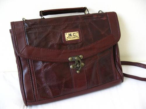 Vintage Marc Chantal Dorothy Perkins Designer Genuine Leather Patchwork Satchel Messenger Bag