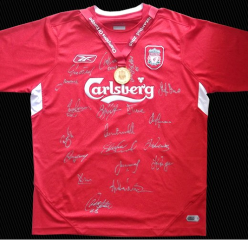 watch 528a1 44845 LIVERPOOL CHAMPIONS LEAGUE SIGNED SHIRT 2005 + MEDAL+COA | bidorbuy.co.za