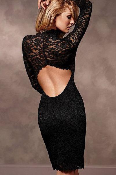 Sexy long sleeve lace dress