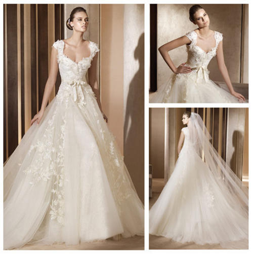 Ivory Lace And Tulle Sweetheart Ball Gown Cap Sleeve Wedding Dress 2013